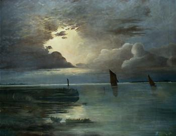 Andreas Achenbach : Sunset at the Sea with Thunderstorm