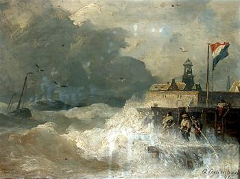 Andreas Achenbach : Storm at the Coast