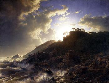 Andreas Achenbach : Sunset after a Storm on the Coast of Sicily