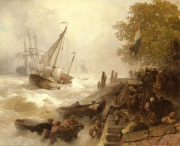 Andreas Achenbach : Return To Harbour In Rough Seas