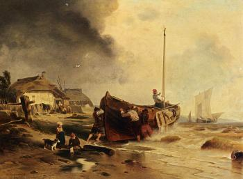 Andreas Achenbach : A Fishingboat On The Beach