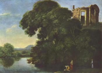 Landscape showing the Temple of Vesta in Tivoli