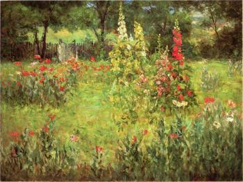 John Ottis Adams : Hollyhocks and Poppies, The Hermitage