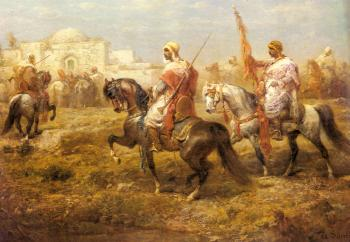Adolf Schreyer : Arab Cavalry Approaching An Oasis