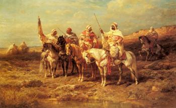 Adolf Schreyer : Arab Horseman By A watering Hole