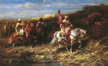Adolf Schreyer : Arab Horseman In A Landscape