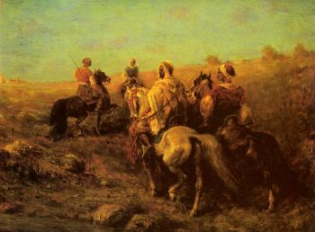 Adolf Schreyer : Arabian Horsemen Near A Watering Place