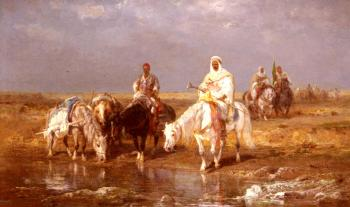 Adolf Schreyer : Arabs Watering Their horses