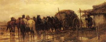Adolf Schreyer : Hitching Horses To The Wagon
