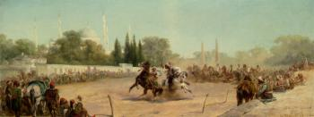 Adolf Schreyer : A Horse Race In The Hippodrome