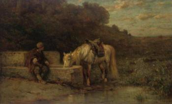 Adolf Schreyer : a rest by the fountain