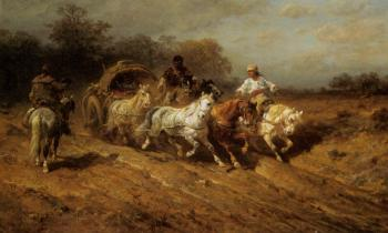 Adolf Schreyer : A Wallachian Caravan on the Open Road