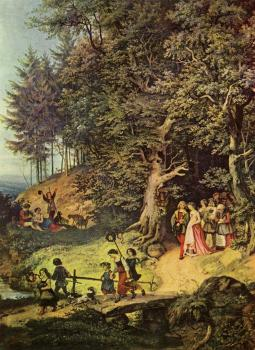 Bridal Procession in a Spring Landscape Detail