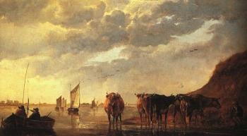 Aelbert Cuyp : herdsman With Cows By A River