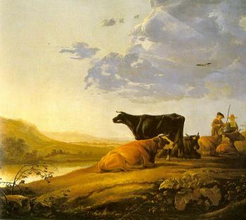 Aelbert Cuyp : Young Herdsman With Cows