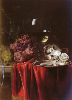 Willem Van Aelst : A Still Life of Grapes, a Roemer, a Silver Ewer and a Plate