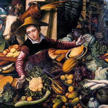 Pieter Aertsen : Market Woman with Vegetable Stall