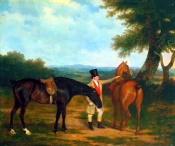 Jacques-Laurent Agasse : Two Hunters with a Groom