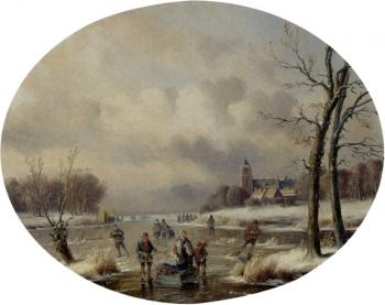 Carl Eduard Ahrendts : Skaters On A Frozen Waterway, A 'Koek En Zopie' In The Distance