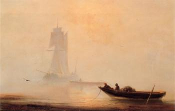 Ivan Constantinovich Aivazovsky : Fishing Boats In A Harbor