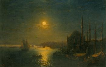 Ivan Constantinovich Aivazovsky : A Moonlit View of the Bosphorus