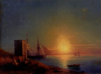 Ivan Constantinovich Aivazovsky : Figures In A Coastal Landscape At Sunset