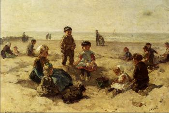 Johannes Evert Akkeringa : Children Playing On The Beach