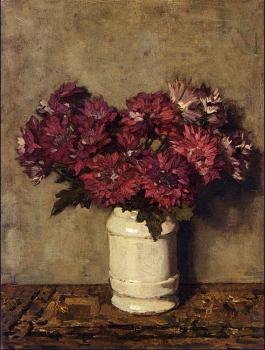 Johannes Evert Akkeringa : Chrysanthemums In a Vase