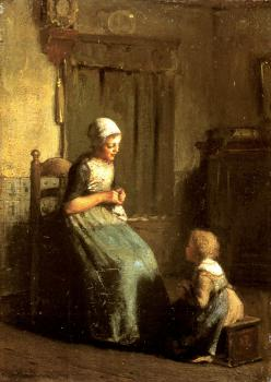 Albert Neuhuys : The Knitting Lesson