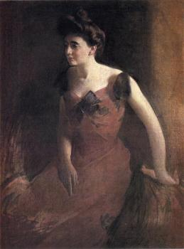 John White Alexander : Woman in a Red Dress