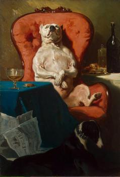 Alfred Dedreux : Pug Dog in an Armchair
