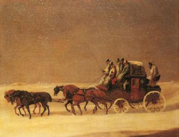 Henry Alken : The Derby and London Royal Mail on the Open Road in Winter