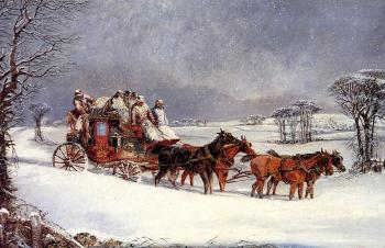 Henry Alken : The York to London Royal Mail on the Open Road in Winter