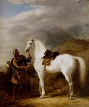 William Allan : A Circassian chief preparing his stallion