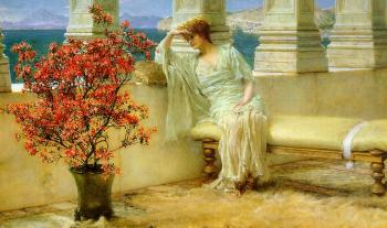 Sir Lawrence Alma-Tadema : Her Eyes are with Her Thoughts