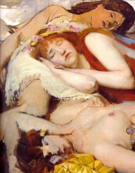 Sir Lawrence Alma-Tadema : Exhausted Maenides after the Dance