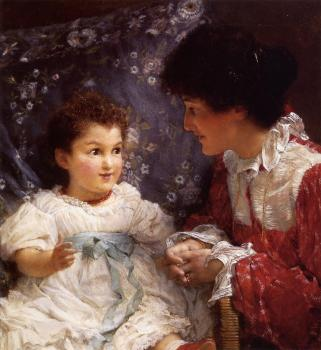 Sir Lawrence Alma-Tadema : Mrs George Lewis and Her Daughter Elizabeth