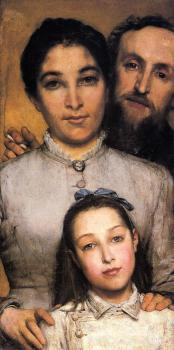 Sir Lawrence Alma-Tadema : Portrait of Aime-Jules Dalou, His Wife and Daughter
