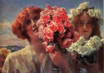 Sir Lawrence Alma-Tadema : Young Girls with Roses