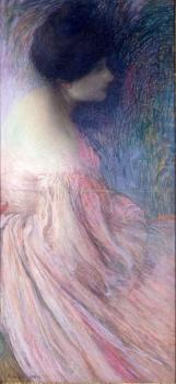 Edmond Francois Aman-Jean : Femme en robe rose (Woman in a pink dress)