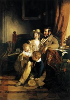 Friedrich Von Amerling : Rudolf von Arthaber with his Children