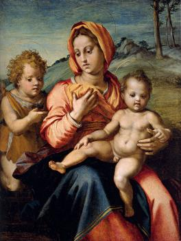 Andrea Del Sarto : Madonna And Child With The Infant Saint John In A Landscape