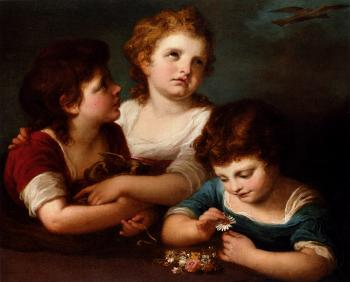 Angelica Kauffmann : Children With A Birds Nest And Flowers