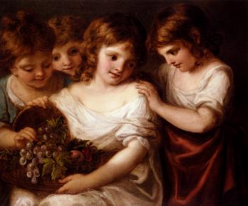 Angelica Kauffmann : Four Children With A Basket Of Fruit