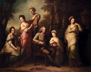 Angelica Kauffmann : Portrait Of Philip Tisdal With His Wife And Family