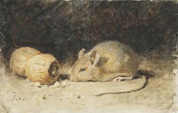 A mouse with a peanut