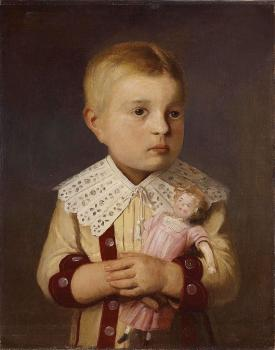 Albert Anker : Kind mit puppe
