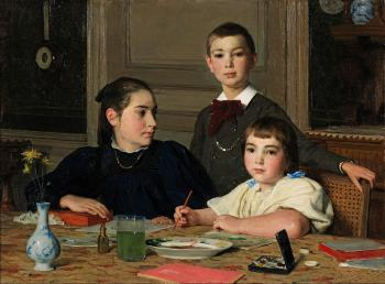 Albert Anker : The zaeslin siblings