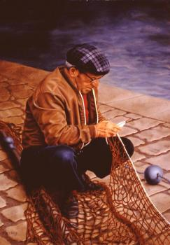 Ann James Massey : Fisherman Mending His Net