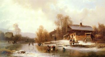Anton Doll : Skaters And Washerwomen In A Frozen Landscape